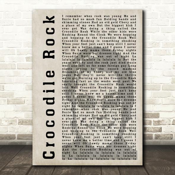 Elton John Crocodile Rock Shadow Song Lyric Quote Music Print