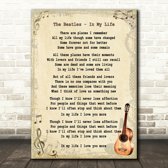 The Beatles In My Life Song Lyric Vintage Quote Print