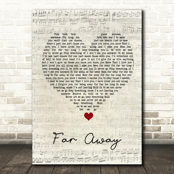 Nickelback Far Away Script Heart Song Lyric Quote Music Print