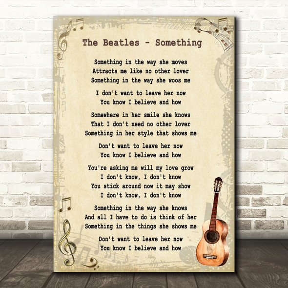 The Beatles Something Song Lyric Vintage Quote Print