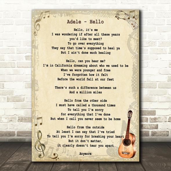 Adele Hello Song Lyric Vintage Quote Print