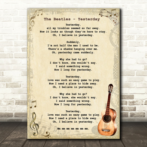 The Beatles Yesterday Song Lyric Vintage Quote Print