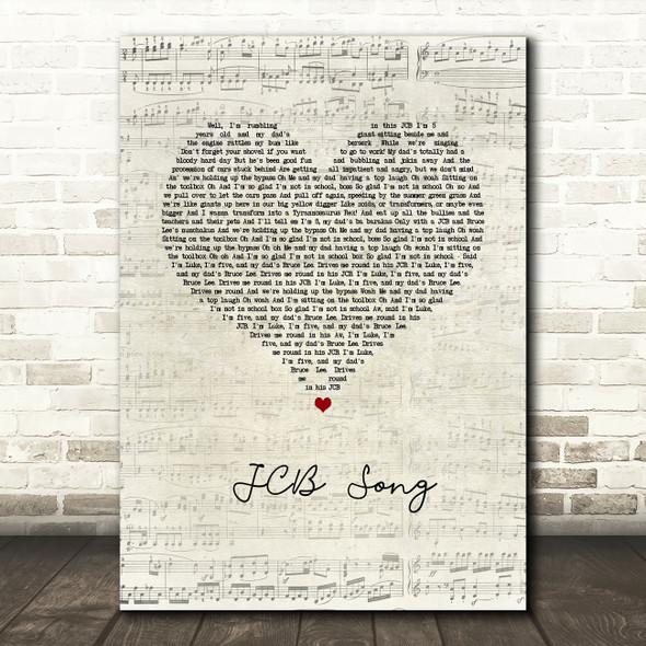 Nizlopi JCB Song Script Heart Song Lyric Quote Music Print