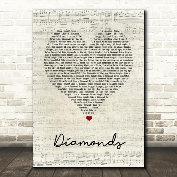 Rihanna Diamonds Script Heart Song Lyric Quote Music Print