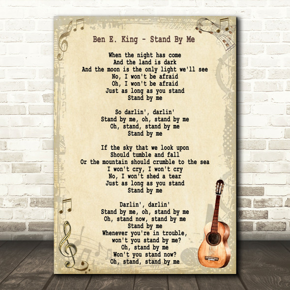 Ben E. King Stand By Me Song Lyric Vintage Quote Print