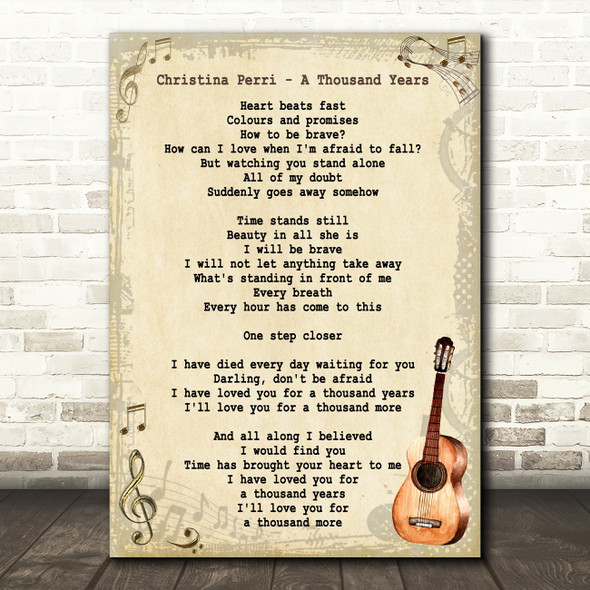 Christina Perri A Thousand Years Song Lyric Vintage Quote Print
