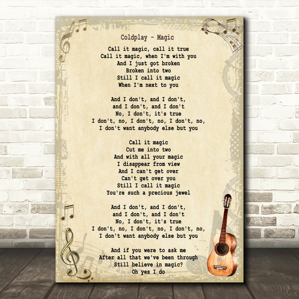 Coldplay Magic Song Lyric Vintage Quote Print
