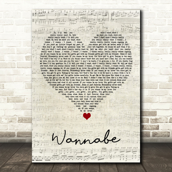 Spice Girls Wannabe Script Heart Song Lyric Quote Music Print