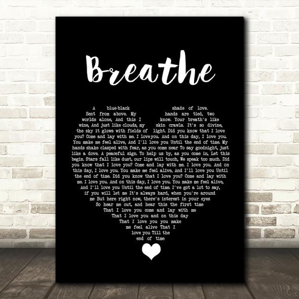 Angels & Airwaves Breathe Black Heart Song Lyric Quote Music Print
