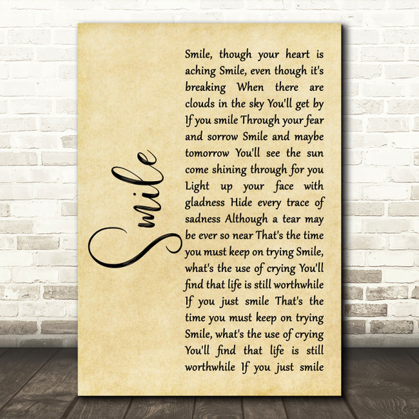 Nat King Cole Smile Rustic Script Song Lyric Quote Music Print