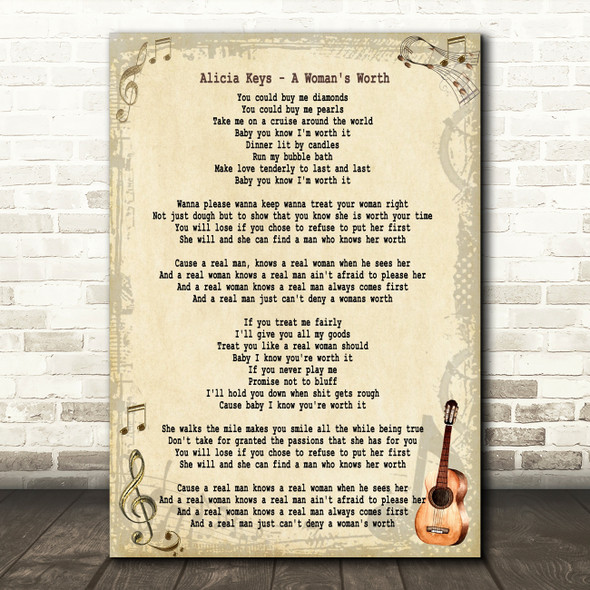 Alicia Keys A Woman's Worth Song Lyric Quote Print