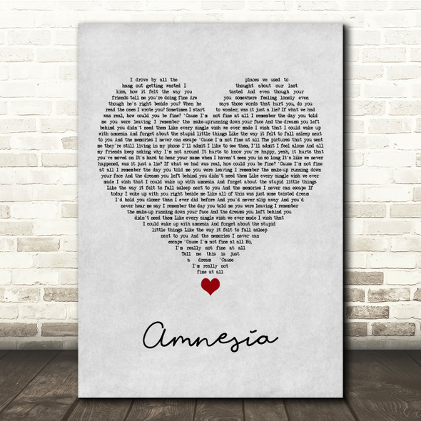5 Seconds of Summer Amnesia Grey Heart Song Lyric Quote Music Print