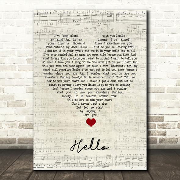 Lionel Richie Hello Script Heart Song Lyric Quote Music Print