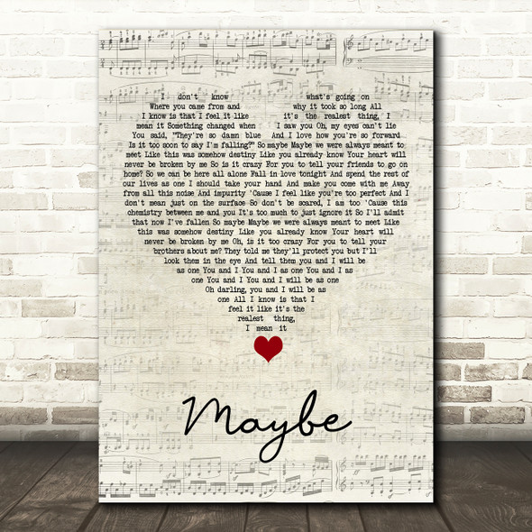 James Arthur Maybe Script Heart Song Lyric Quote Music Print