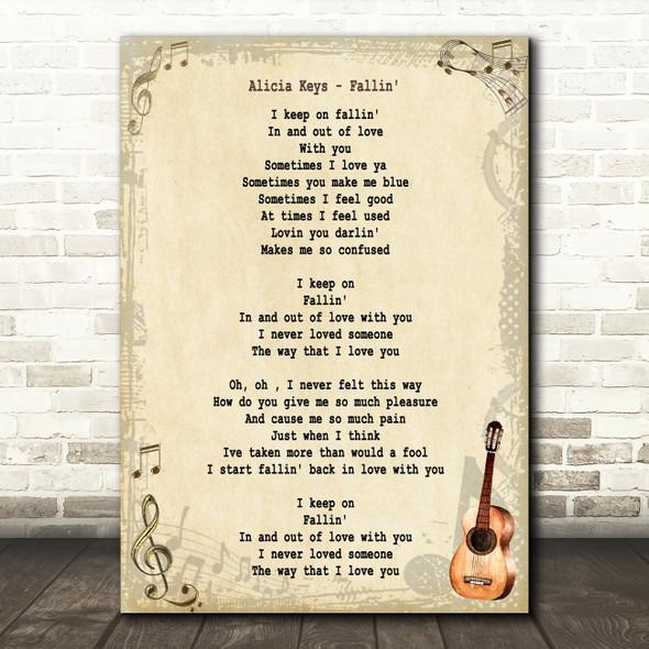 Alicia Keys Fallin' Song Lyric Quote Print