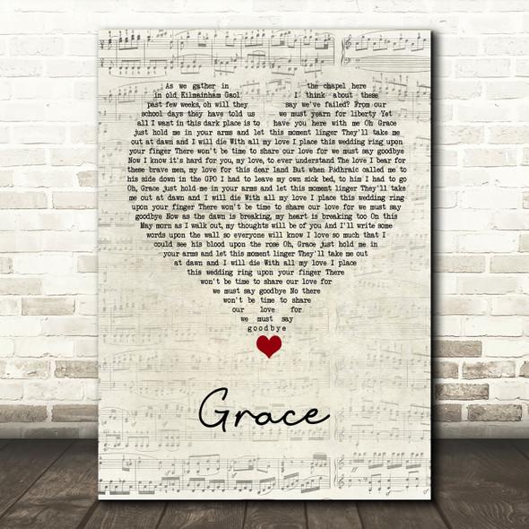 Rod Stewart Grace Script Heart Song Lyric Quote Music Print