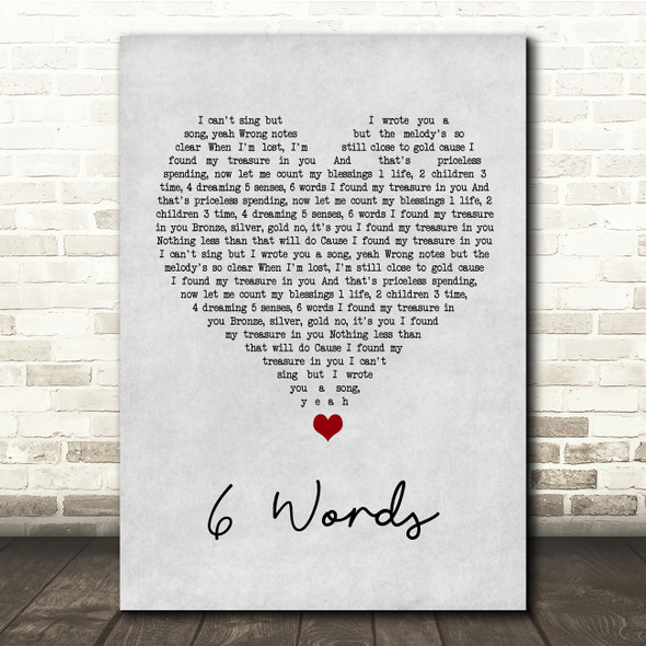 Wretch 32 6 Words Grey Heart Song Lyric Quote Music Print