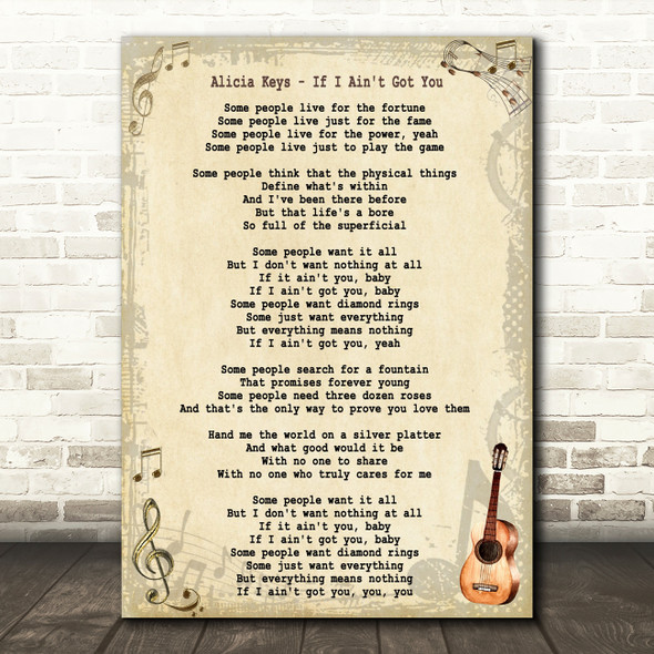 Alicia Keys If I Ain't Got You Song Lyric Quote Print