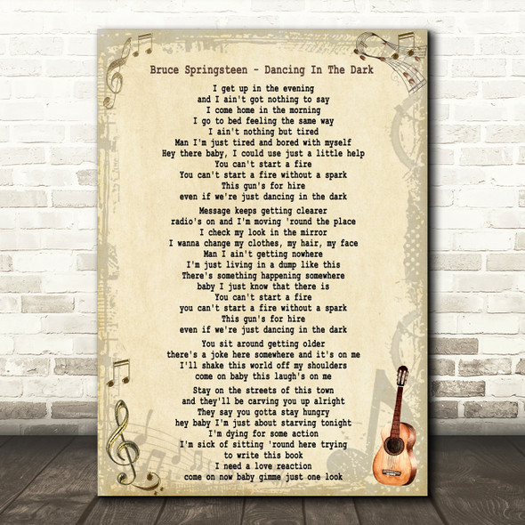 Bruce Springsteen Dancing In The Dark Song Lyric Quote Print