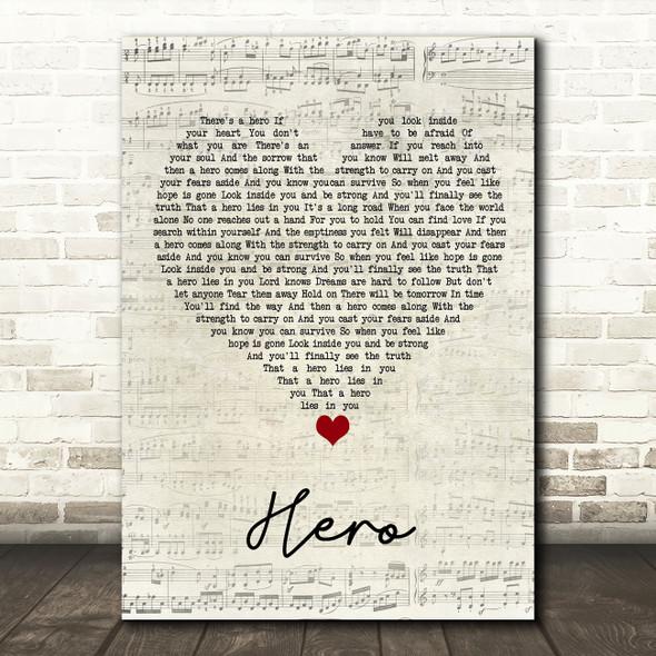 Mariah Carey Hero Script Heart Song Lyric Quote Music Print