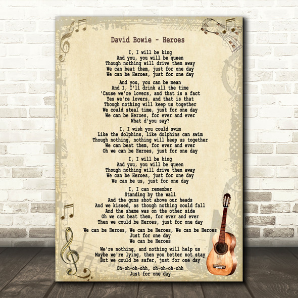 David Bowie Heroes Song Lyric Guitar Quote Print