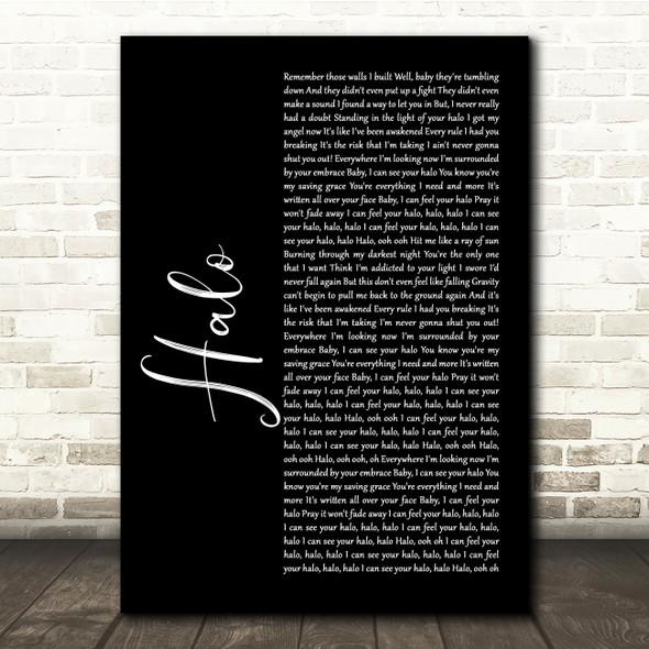 Beyonce Halo Black Script Song Lyric Quote Music Print