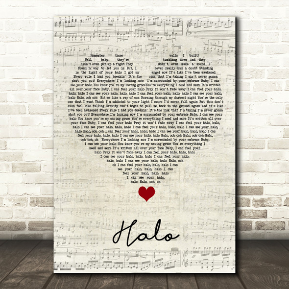 Beyonce Halo Script Heart Song Lyric Quote Music Print