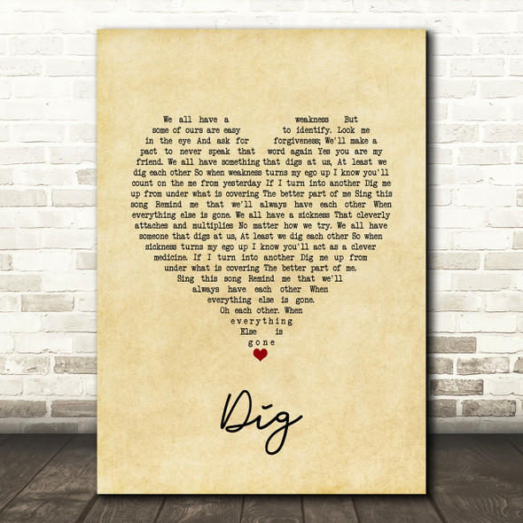 Incubus Dig Vintage Heart Song Lyric Quote Music Print