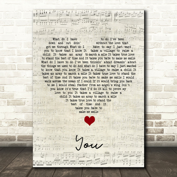 Black Stone Cherry You Script Heart Song Lyric Quote Music Print