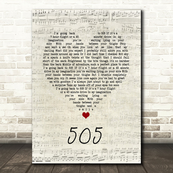 Arctic Monkeys 505 Script Heart Song Lyric Quote Music Print