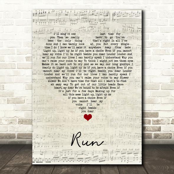 Snow Patrol Run Script Heart Song Lyric Quote Music Print