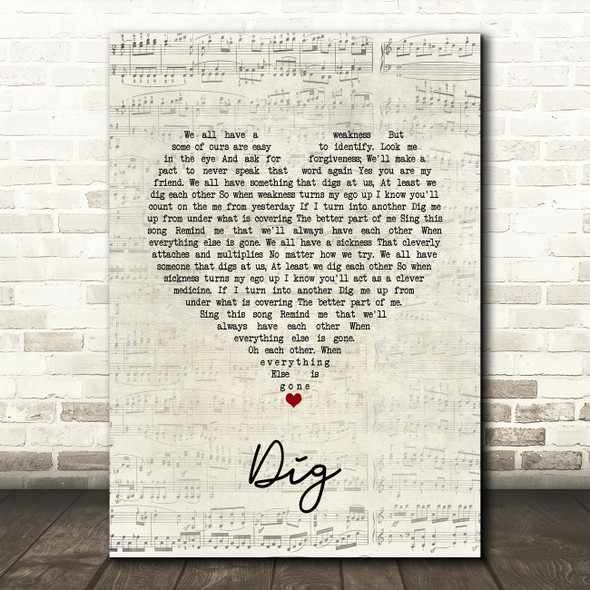 Incubus Dig Script Heart Song Lyric Quote Music Print