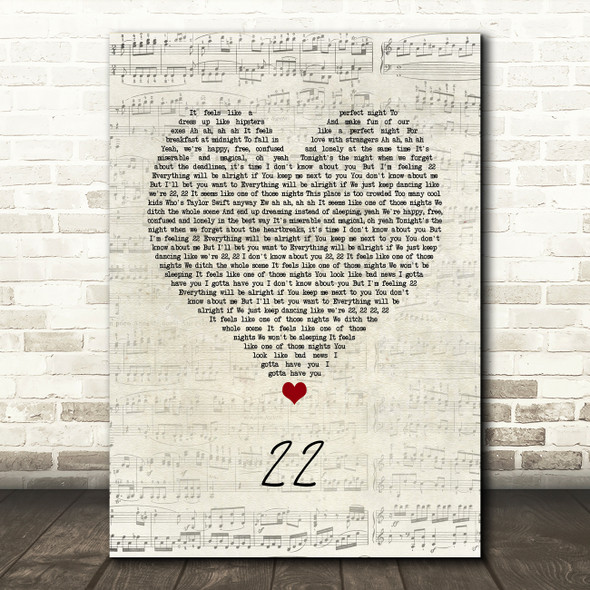 Taylor Swift 22 Script Heart Song Lyric Quote Music Print