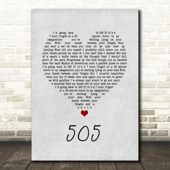 Arctic Monkeys 505 Grey Heart Song Lyric Quote Music Print