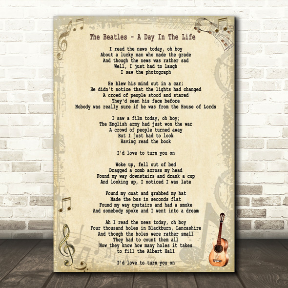 The Beatles A Day In The Life Song Lyric Quote Print