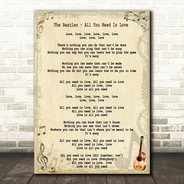 The Beatles All You Need Is Love Song Lyric Quote Print