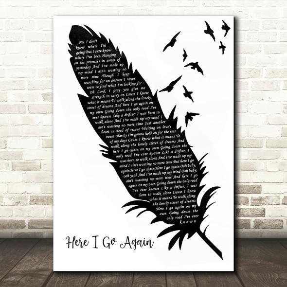 Whitesnake Here I Go Again Black & White Feather & Birds Song Lyric Wall Art Print