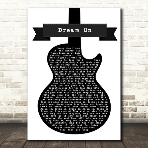 Aerosmith Dream On Black & White Guitar Song Lyric Wall Art Print