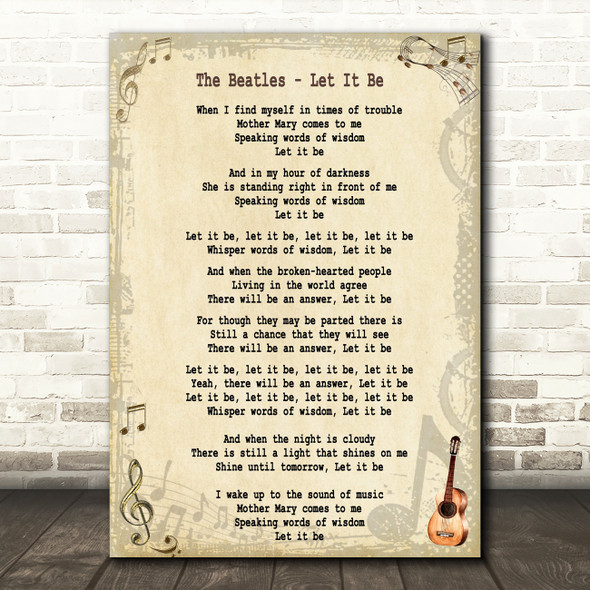 The Beatles Let It Be Song Lyric Quote Print