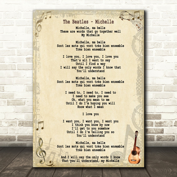 The Beatles Michelle Song Lyric Quote Print