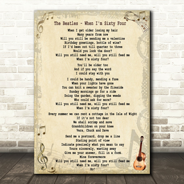 The Beatles When I'm Sixty Four Song Lyric Quote Print