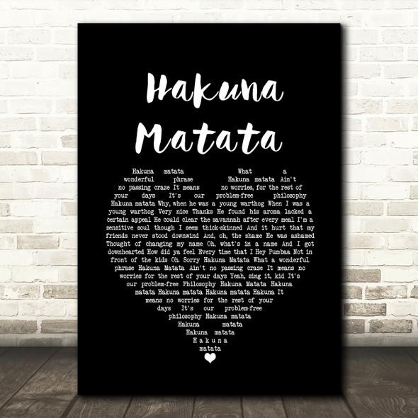 The Lion King Hakuna Matata Black Heart Song Lyric Wall Art Print