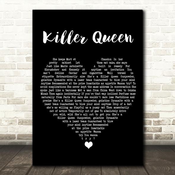 Queen Killer Queen Black Heart Song Lyric Wall Art Print