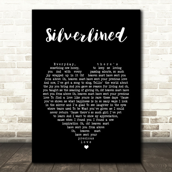 Xyconstant Silverlined Black Heart Song Lyric Wall Art Print