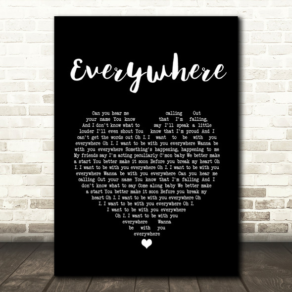 Fleetwood Mac Everywhere Black Heart Song Lyric Wall Art Print