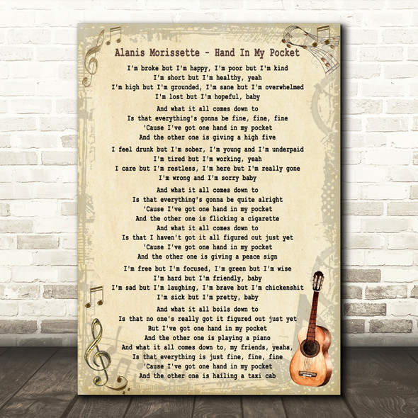 Alanis Morissette Hand In My Pocket Song Lyric Quote Print