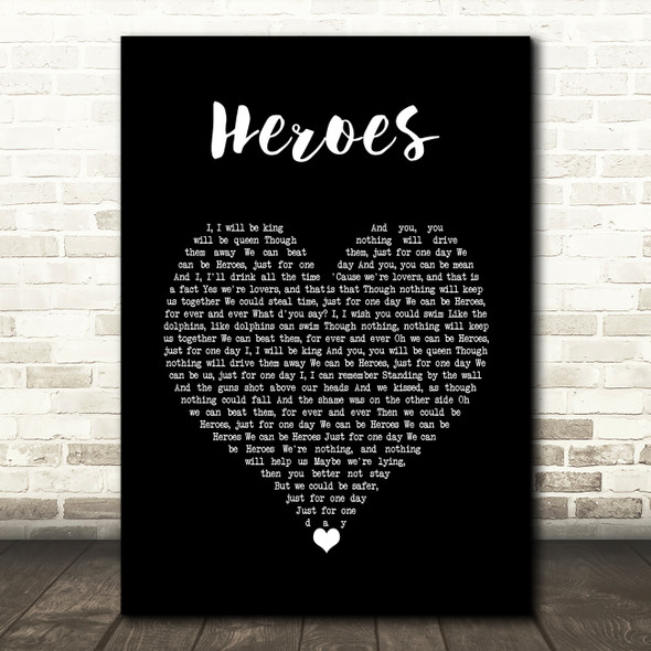 David Bowie Heroes Black Heart Song Lyric Wall Art Print