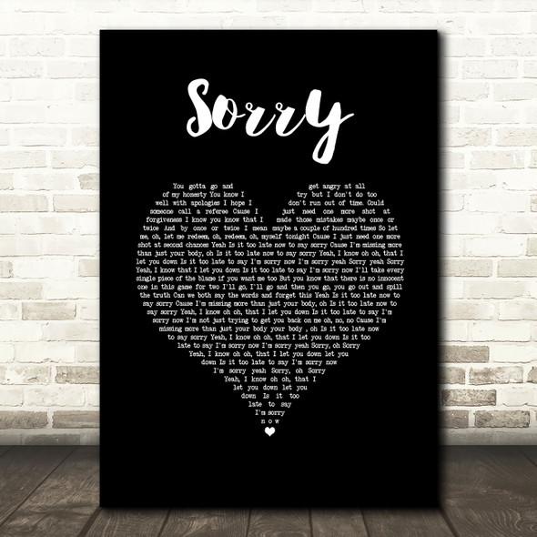 Justin Bieber Sorry Black Heart Song Lyric Wall Art Print