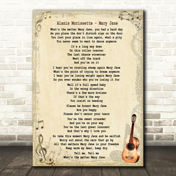 Alanis Morissette Mary Jane Song Lyric Quote Print