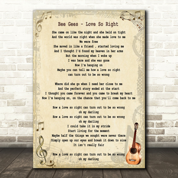 Bee Gees Love So Right Song Lyric Quote Print
